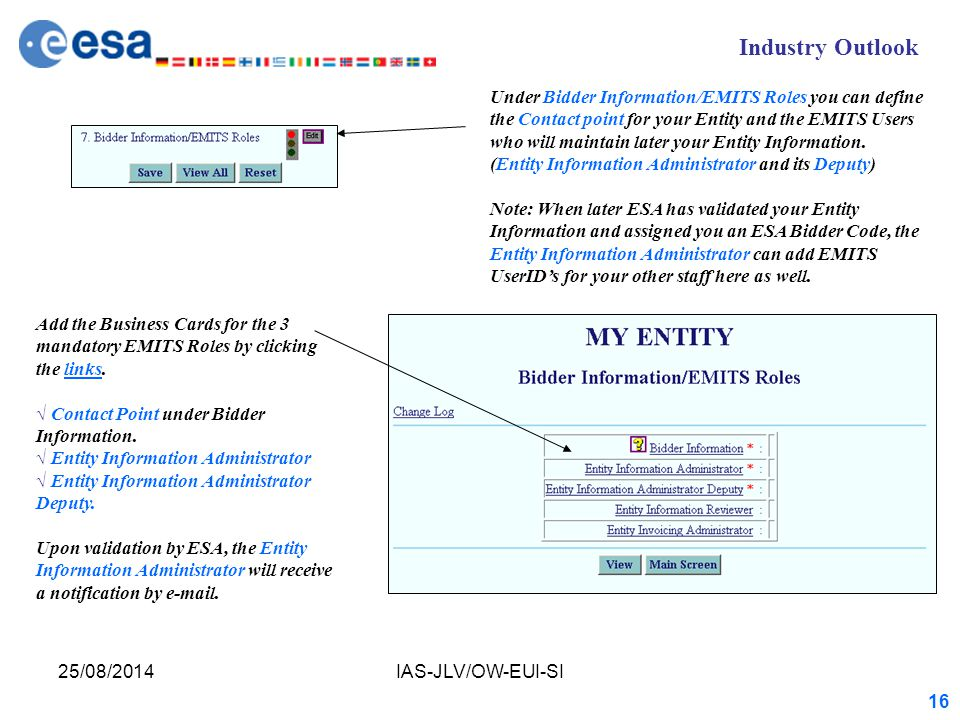Industry Outlook 25/08/2014IAS-JLV/OW-EUI-SI 16 Under Bidder Information/EMITS Roles you can define the Contact point for your Entity and the EMITS Users who will maintain later your Entity Information.