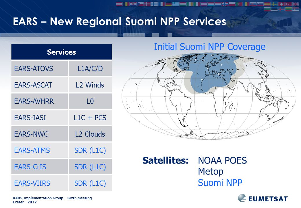 RARS Implementation Group – Sixth meeting Exeter EARS – New Regional Suomi NPP Services Satellites: NOAA POES Metop Suomi NPP Services EARS-ATOVSL1A/C/D EARS-ASCATL2 Winds EARS-AVHRRL0 EARS-IASIL1C + PCS EARS-NWCL2 Clouds EARS-ATMSSDR (L1C) EARS-CrISSDR (L1C) EARS-VIIRSSDR (L1C) Initial Suomi NPP Coverage