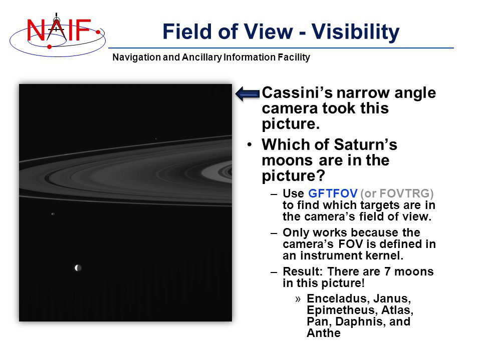 Navigation and Ancillary Information Facility NIF Field of View - Visibility Cassini's narrow angle camera took this picture.