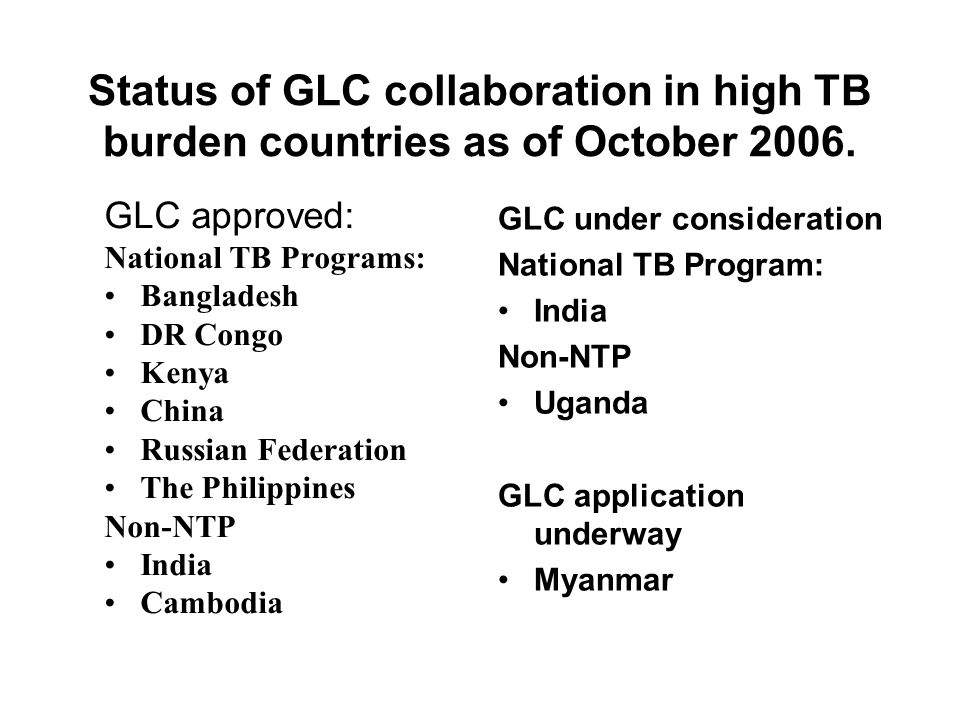 Status of GLC collaboration in high TB burden countries as of October 2006.