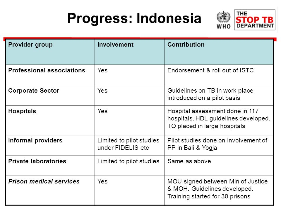Progress: Indonesia Provider groupInvolvementContribution Professional associationsYesEndorsement & roll out of ISTC Corporate SectorYesGuidelines on TB in work place introduced on a pilot basis HospitalsYesHospital assessment done in 117 hospitals.