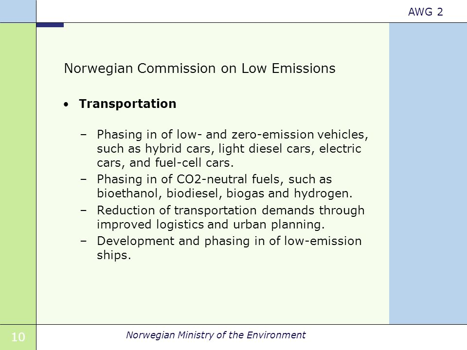 10 Norwegian Ministry of the Environment AWG 2 Norwegian Commission on Low Emissions Transportation –Phasing in of low- and zero-emission vehicles, su