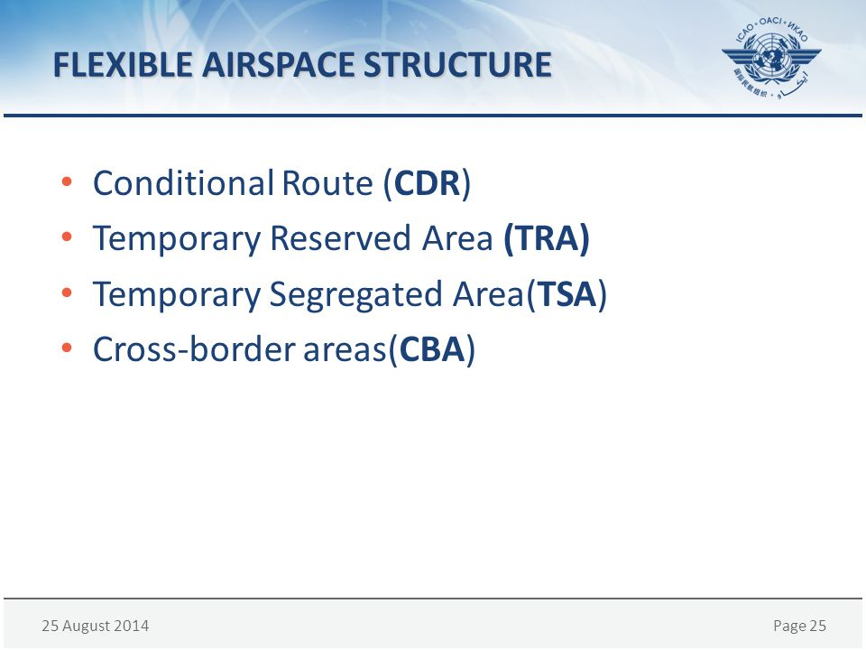 25 August 2014Page 25 FLEXIBLE AIRSPACE STRUCTURE Conditional Route (CDR) Temporary Reserved Area (TRA) Temporary Segregated Area(TSA) Cross-border ar