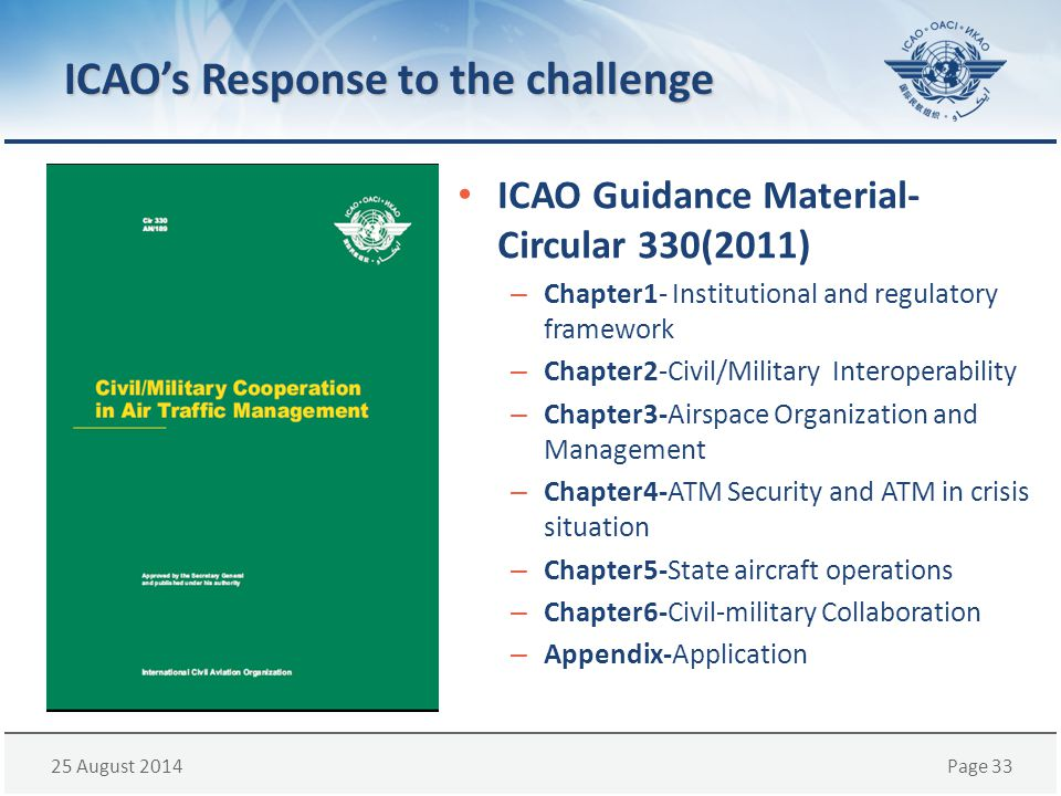 25 August 2014Page 33 ICAO's Response to the challenge ICAO Guidance Material- Circular 330(2011) – Chapter1- Institutional and regulatory framework –