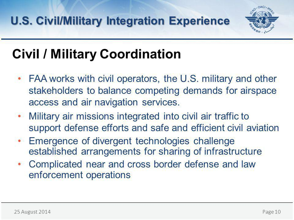 25 August 2014Page 10 Civil / Military Coordination U.S.