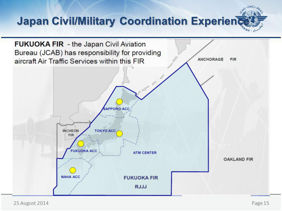 25 August 2014Page 15 Japan Civil/Military Coordination Experience