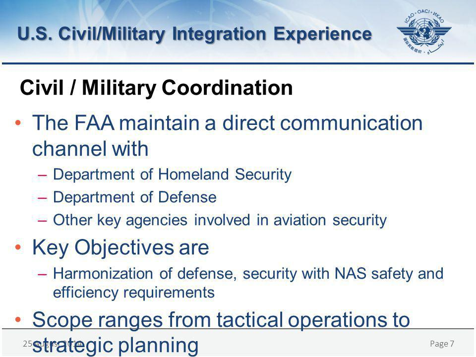 25 August 2014Page 7 Civil / Military Coordination The FAA maintain a direct communication channel with –Department of Homeland Security –Department of Defense –Other key agencies involved in aviation security Key Objectives are –Harmonization of defense, security with NAS safety and efficiency requirements Scope ranges from tactical operations to strategic planning U.S.