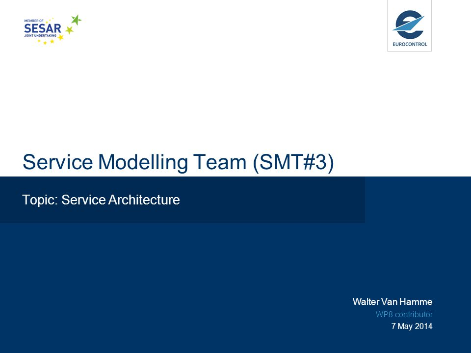 Service Modelling Team (SMT#3) Topic: Service Architecture Walter Van Hamme WP8 contributor 7 May 2014