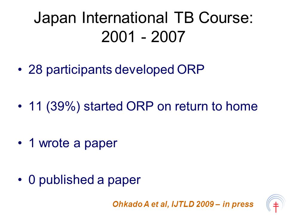Japan International TB Course: 2001 - 2007 28 participants developed ORP 11 (39%) started ORP on return to home 1 wrote a paper 0 published a paper Ohkado A et al, IJTLD 2009 – in press