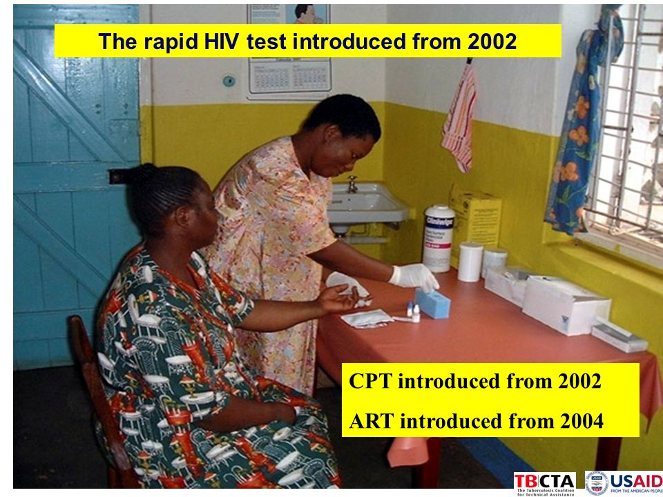 The rapid HIV test introduced from 2002 CPT introduced from 2002 ART introduced from 2004