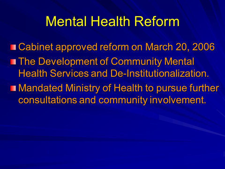 Mental Health Reform Cabinet approved reform on March 20, 2006 The Development of Community Mental Health Services and De-Institutionalization. Mandat