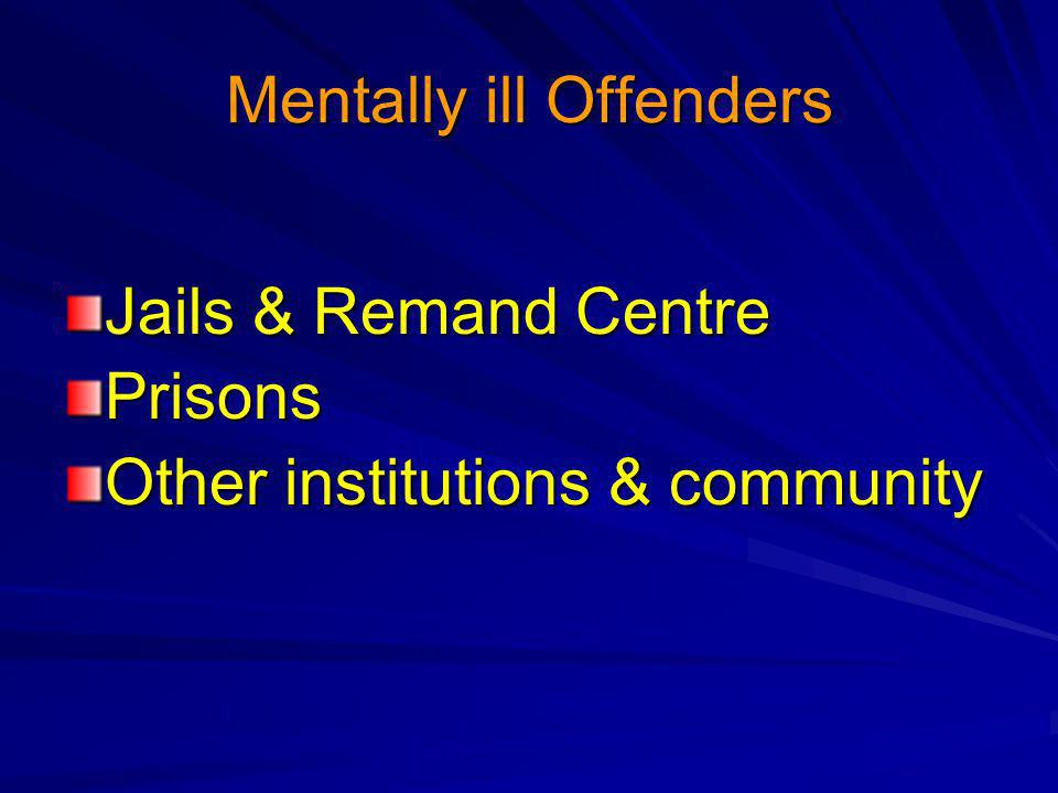 Mentally ill Offenders Jails & Remand Centre Prisons Other institutions & community