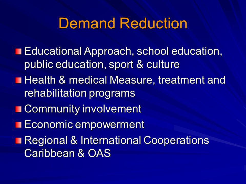 Demand Reduction Educational Approach, school education, public education, sport & culture Health & medical Measure, treatment and rehabilitation programs Community involvement Economic empowerment Regional & International Cooperations Caribbean & OAS