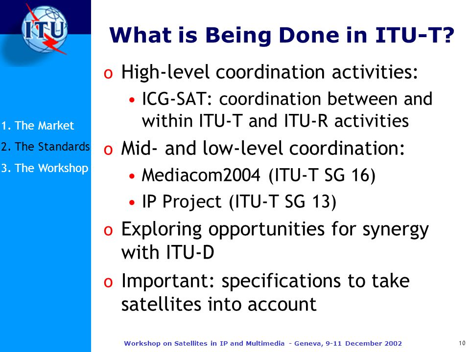10 Workshop on Satellites in IP and Multimedia - Geneva, 9-11 December 2002 What is Being Done in ITU-T.