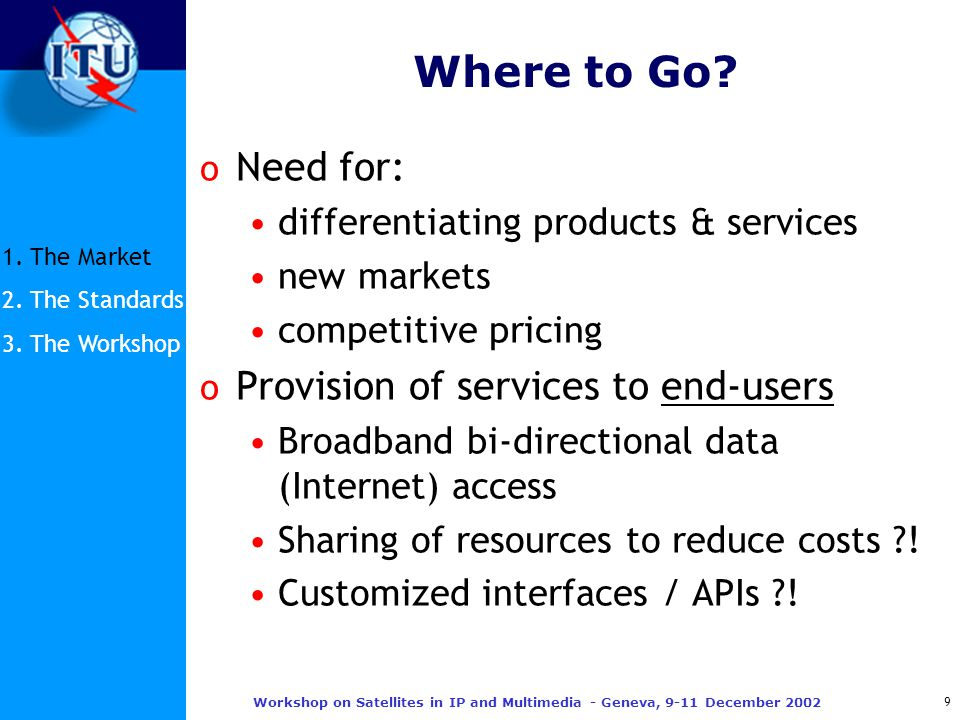 9 Workshop on Satellites in IP and Multimedia - Geneva, 9-11 December 2002 Where to Go.