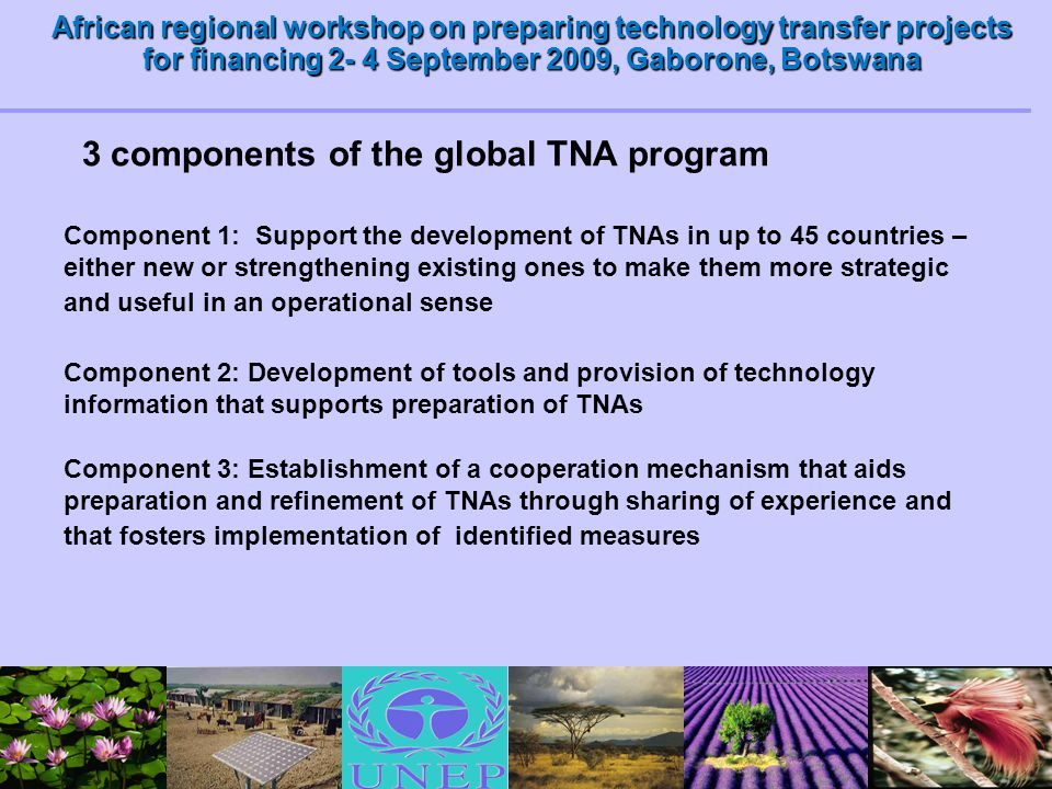 African regional workshop on preparing technology transfer projects for financing 2- 4 September 2009, Gaborone, Botswana 3 components of the global T