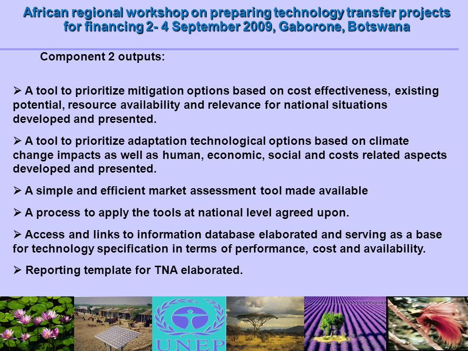 African regional workshop on preparing technology transfer projects for financing 2- 4 September 2009, Gaborone, Botswana  A tool to prioritize mitig