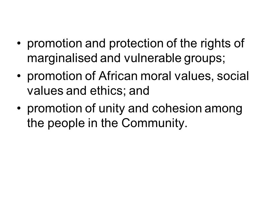 promotion and protection of the rights of marginalised and vulnerable groups; promotion of African moral values, social values and ethics; and promoti