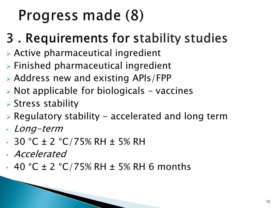 3. Requirements for stability studies  Active pharmaceutical ingredient  Finished pharmaceutical ingredient  Address new and existing APIs/FPP  No