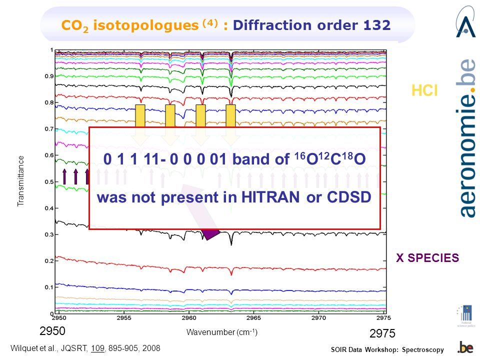 SOIR Data Workshop: Spectroscopy CO 2 isotopologues (4) : Diffraction order 132 Transmittance Wavenumber (cm -1 ) HCl X SPECIES band of 16 O 12 C 18 O was not present in HITRAN or CDSD Wilquet et al., JQSRT, 109, , 2008
