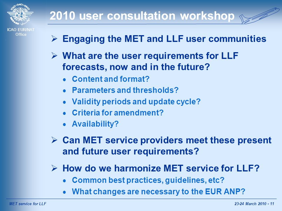 ICAO EUR/NAT Office 2010 user consultation workshop  Engaging the MET and LLF user communities  What are the user requirements for LLF forecasts, now and in the future.