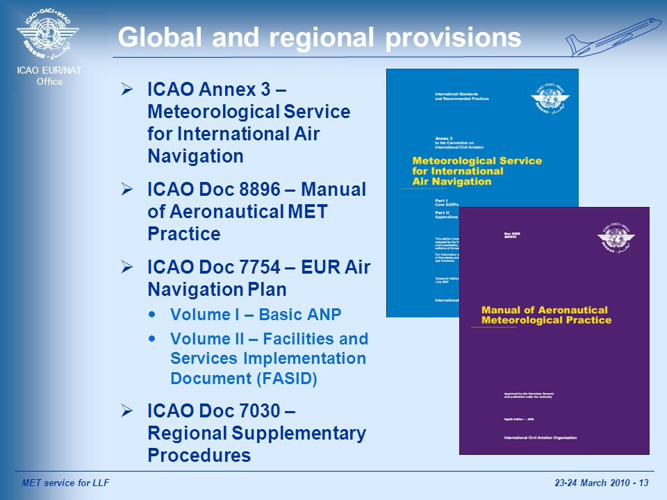 ICAO EUR/NAT Office Global and regional provisions  ICAO Annex 3 – Meteorological Service for International Air Navigation  ICAO Doc 8896 – Manual of Aeronautical MET Practice  ICAO Doc 7754 – EUR Air Navigation Plan  Volume I – Basic ANP  Volume II – Facilities and Services Implementation Document (FASID)  ICAO Doc 7030 – Regional Supplementary Procedures MET service for LLF23-24 March 2010 - 13