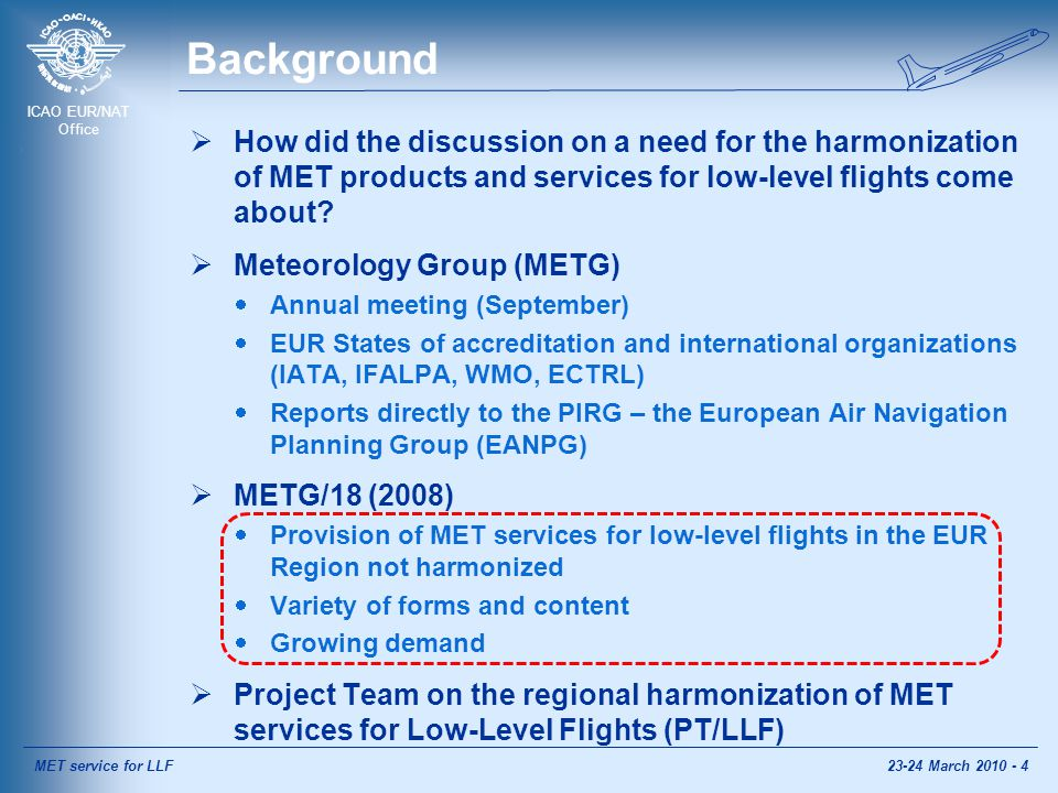 ICAO EUR/NAT Office Background  How did the discussion on a need for the harmonization of MET products and services for low-level flights come about.