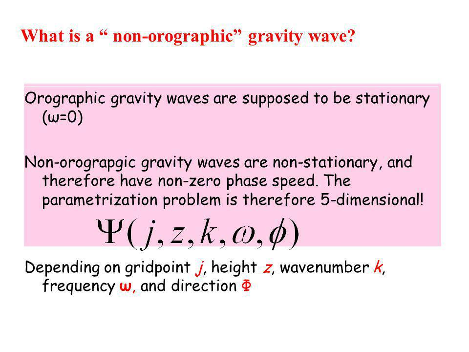 "What is a "" non-orographic"" gravity wave? Orographic gravity waves are supposed to be stationary (ω=0) Non-orograpgic gravity waves are non-stationary"