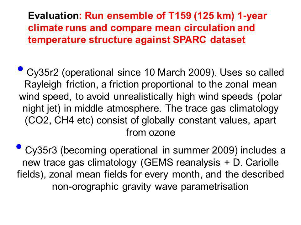 Evaluation: Run ensemble of T159 (125 km) 1-year climate runs and compare mean circulation and temperature structure against SPARC dataset U (m/s) Cy3