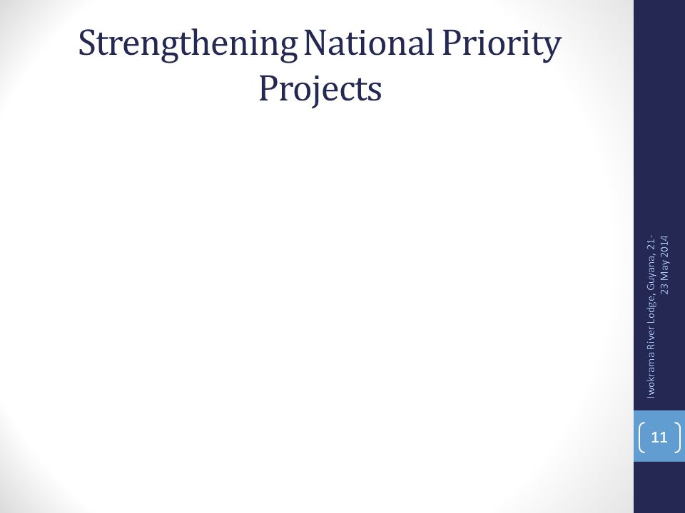 Strengthening National Priority Projects 11 Iwokrama River Lodge, Guyana, 21- 23 May 2014