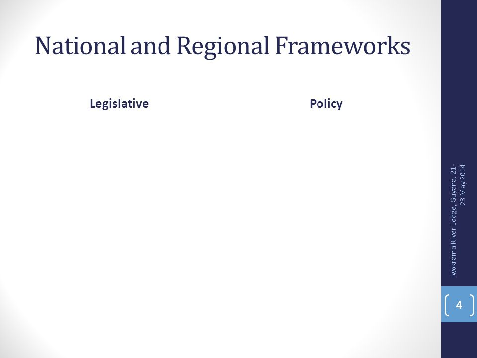 National and Regional Frameworks LegislativePolicy 4 Iwokrama River Lodge, Guyana, 21- 23 May 2014 4