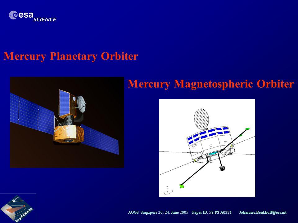 AOGS Singapore 20.-24. June 2005 Paper ID: 58-PS-A0321 Johannes.Benkhoff@esa.int Mercury Planetary Orbiter Mercury Magnetospheric Orbiter