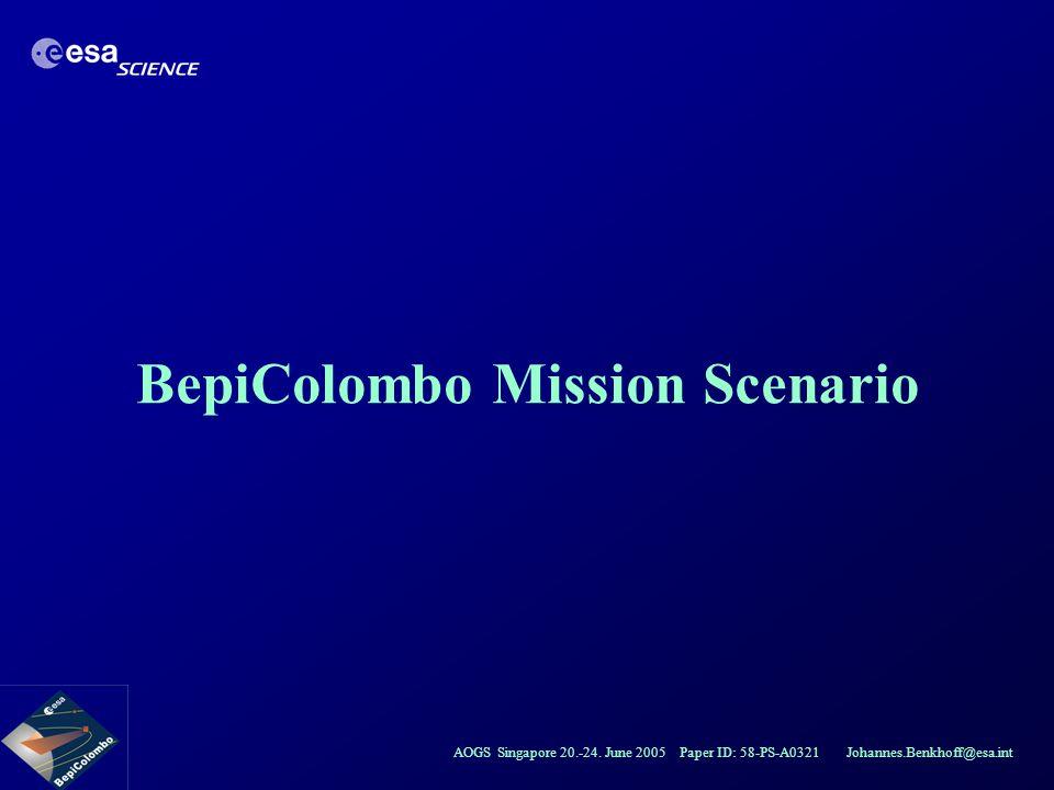 AOGS Singapore 20.-24. June 2005 Paper ID: 58-PS-A0321 Johannes.Benkhoff@esa.int BepiColombo Mission Scenario