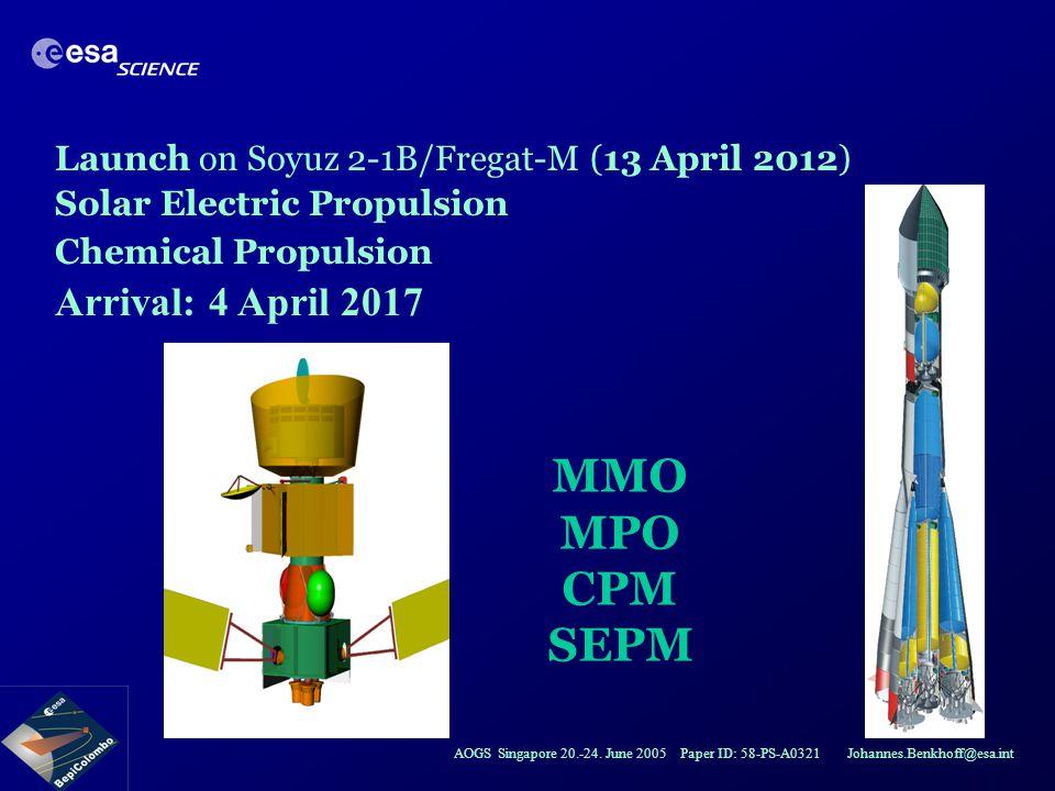AOGS Singapore 20.-24. June 2005 Paper ID: 58-PS-A0321 Johannes.Benkhoff@esa.int MMO MPO CPM SEPM Launch on Soyuz 2-1B/Fregat-M (13 April 2012) Solar