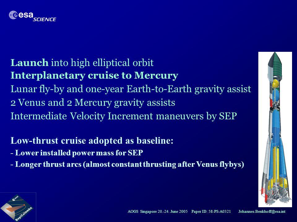 AOGS Singapore 20.-24. June 2005 Paper ID: 58-PS-A0321 Johannes.Benkhoff@esa.int Launch into high elliptical orbit Interplanetary cruise to Mercury Lu