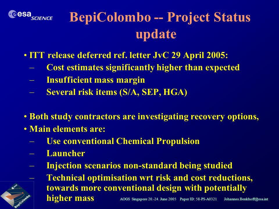 AOGS Singapore 20.-24. June 2005 Paper ID: 58-PS-A0321 Johannes.Benkhoff@esa.int ITT release deferred ref. letter JvC 29 April 2005: –Cost estimates s