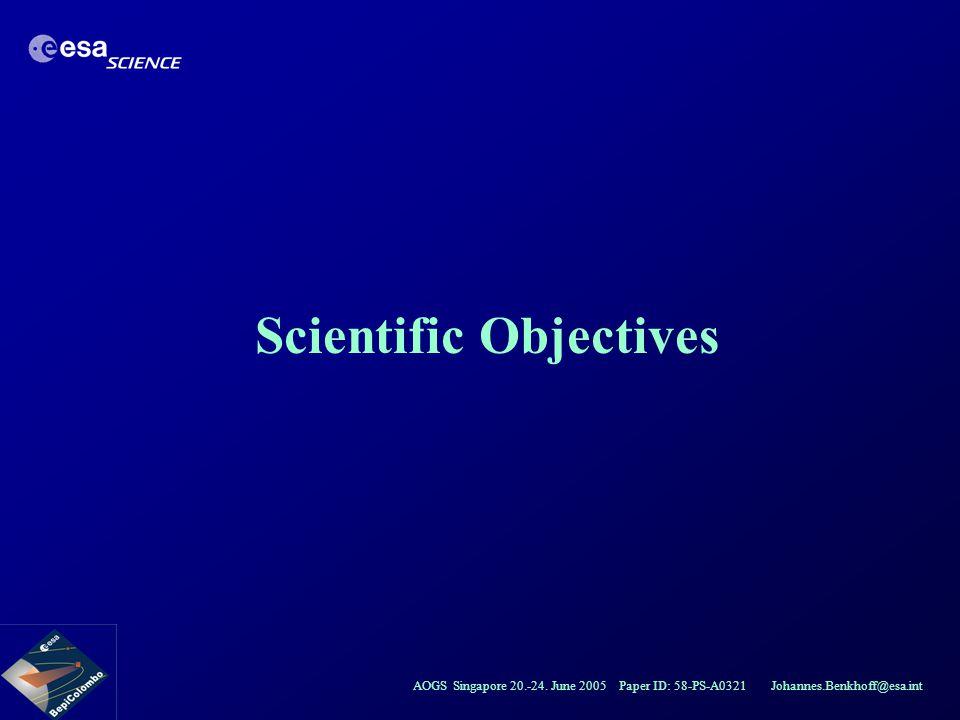 AOGS Singapore 20.-24. June 2005 Paper ID: 58-PS-A0321 Johannes.Benkhoff@esa.int Scientific Objectives