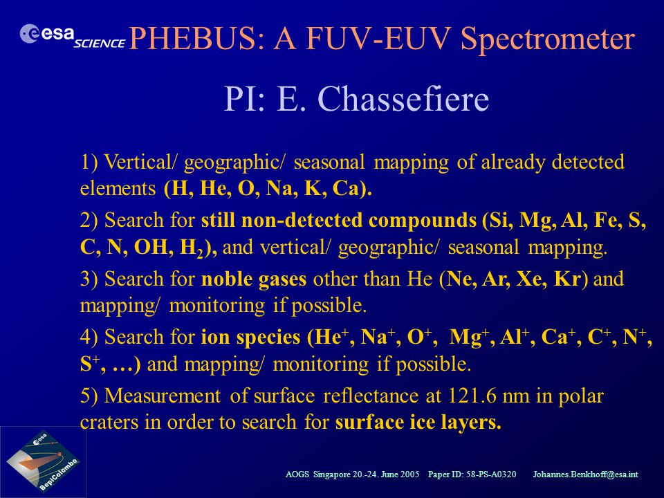 AOGS Singapore 20.-24. June 2005 Paper ID: 58-PS-A0320 Johannes.Benkhoff@esa.int PHEBUS: A FUV-EUV Spectrometer PI: E. Chassefiere 1) Vertical/ geogra