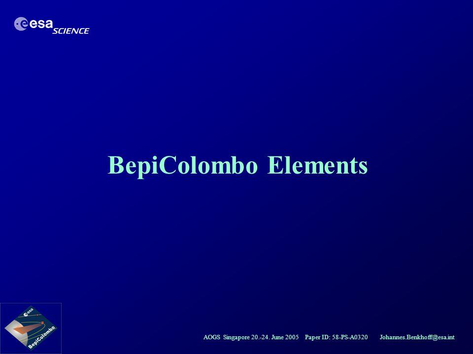 AOGS Singapore 20.-24. June 2005 Paper ID: 58-PS-A0320 Johannes.Benkhoff@esa.int BepiColombo Elements