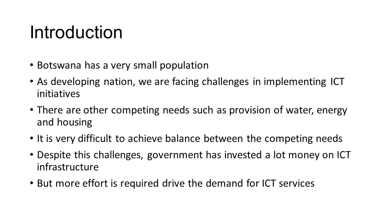 Achievements Policy Framework  2007 National ICT Policy  2006 Rural Telecommunications Strategy  Establishment of converged communications regulator  2012 e-Government Strategy  Broadband Strategy Regulatory Framework  Service Neutral Licensing Framework  Infrastructure Sharing Guidelines  Various Communications Regulations