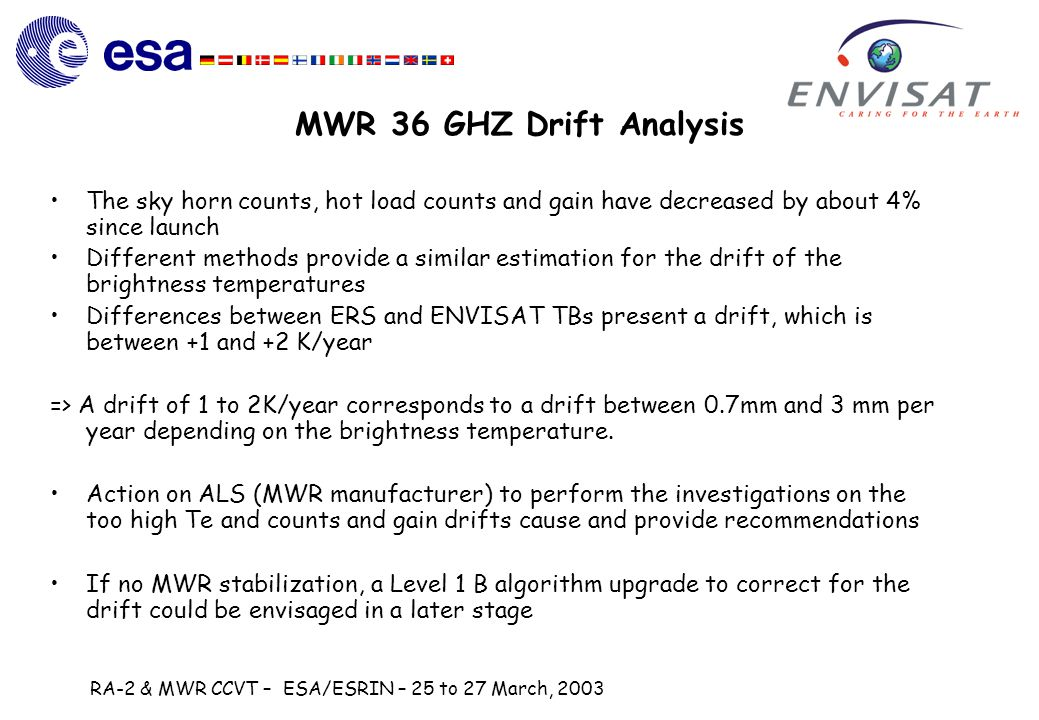 RA-2 & MWR CCVT – ESA/ESRIN – 25 to 27 March, 2003 MWR 36 GHZ Drift Analysis The sky horn counts, hot load counts and gain have decreased by about 4% since launch Different methods provide a similar estimation for the drift of the brightness temperatures Differences between ERS and ENVISAT TBs present a drift, which is between +1 and +2 K/year => A drift of 1 to 2K/year corresponds to a drift between 0.7mm and 3 mm per year depending on the brightness temperature.