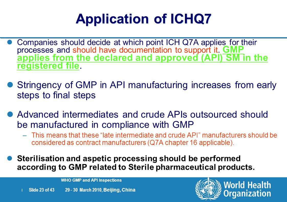 | Slide 23 of 43 29 - 30 March 2010, Beijing, China WHO GMP and API Inspections Application of ICHQ7 Companies should decide at which point ICH Q7A ap