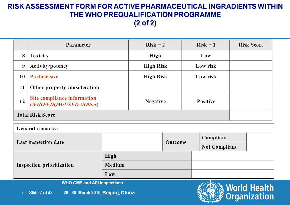 | Slide 7 of 43 29 - 30 March 2010, Beijing, China WHO GMP and API Inspections RISK ASSESSMENT FORM FOR ACTIVE PHARMACEUTICAL INGRADIENTS WITHIN THE W
