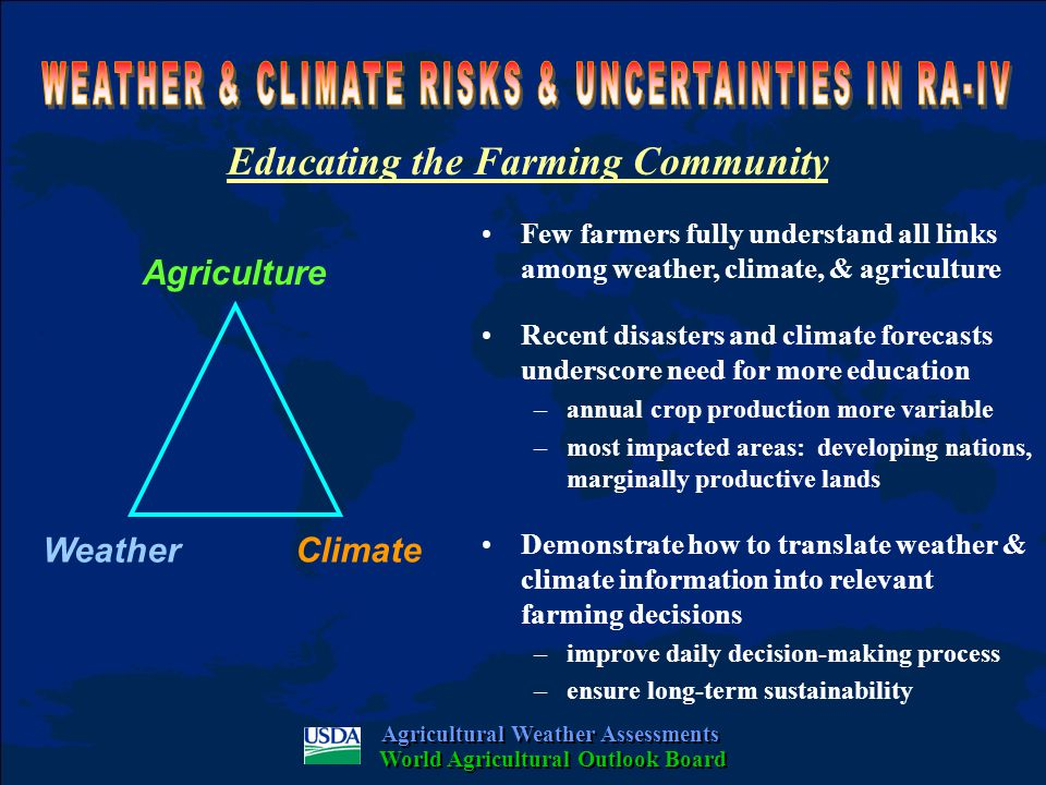Educating the Farming Community Few farmers fully understand all links among weather, climate, & agriculture Recent disasters and climate forecasts underscore need for more education –annual crop production more variable –most impacted areas: developing nations, marginally productive lands Demonstrate how to translate weather & climate information into relevant farming decisions –improve daily decision-making process –ensure long-term sustainability Agricultural Weather Assessments World Agricultural Outlook Board Agriculture Weather Climate