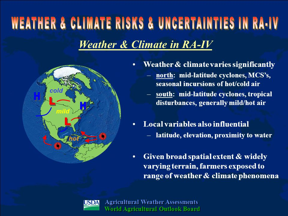Weather & Climate in RA-IV Weather & climate varies significantly –north: mid-latitude cyclones, MCS's, seasonal incursions of hot/cold air –south: mid-latitude cyclones, tropical disturbances, generally mild/hot air Local variables also influential –latitude, elevation, proximity to water Given broad spatial extent & widely varying terrain, farmers exposed to range of weather & climate phenomena Agricultural Weather Assessments World Agricultural Outlook Board cold mild hot