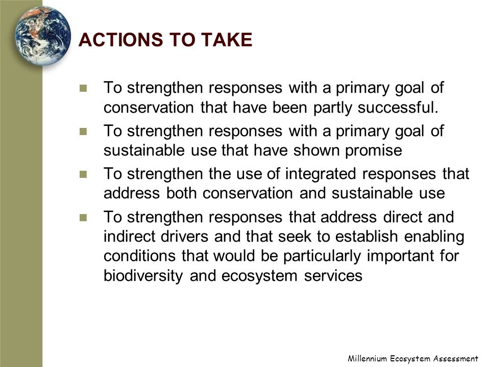 Millennium Ecosystem Assessment ACTIONS TO TAKE To strengthen responses with a primary goal of conservation that have been partly successful.