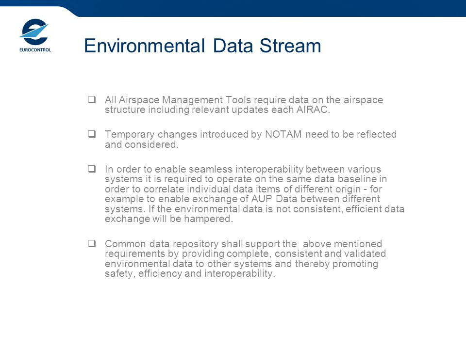 Environmental Data Stream  All Airspace Management Tools require data on the airspace structure including relevant updates each AIRAC.