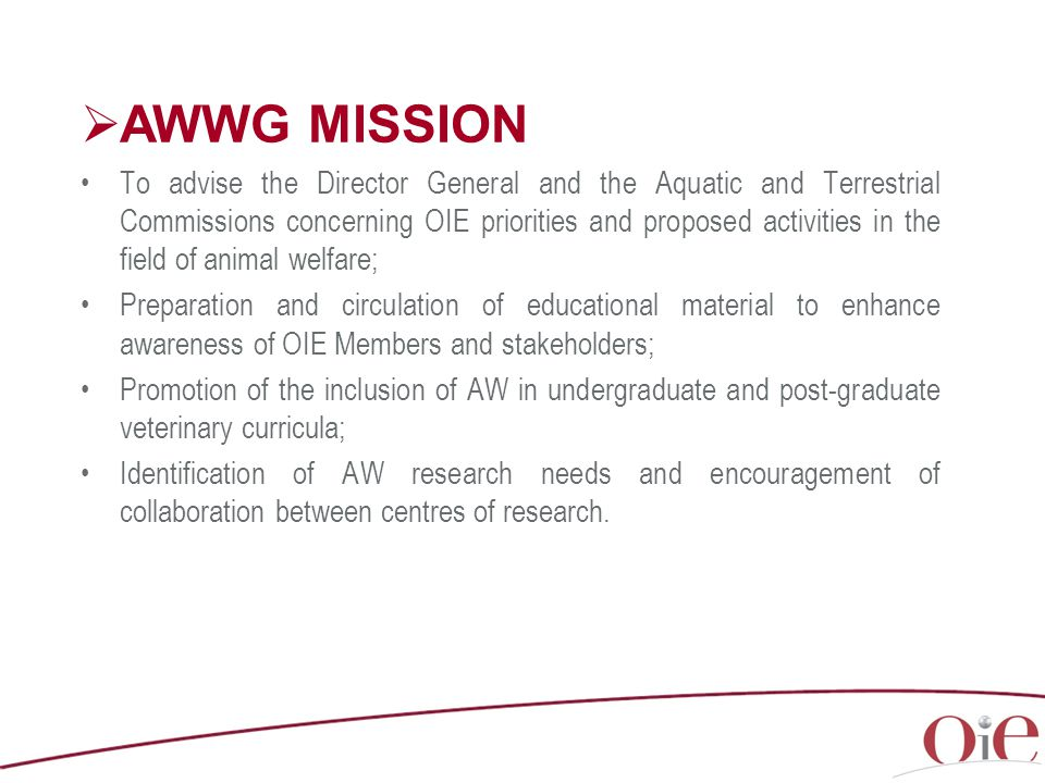  AWWG MISSION To advise the Director General and the Aquatic and Terrestrial Commissions concerning OIE priorities and proposed activities in the field of animal welfare; Preparation and circulation of educational material to enhance awareness of OIE Members and stakeholders; Promotion of the inclusion of AW in undergraduate and post-graduate veterinary curricula; Identification of AW research needs and encouragement of collaboration between centres of research.