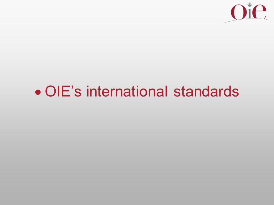 Animal welfare  essential for OIE standards to be relevant to all Member Countries  essential to involve broad range of stakeholders, inside & outside government  OIE committed to use all available expertise – academia, research community, industry, relevant NGOs – to ensure best outcomes