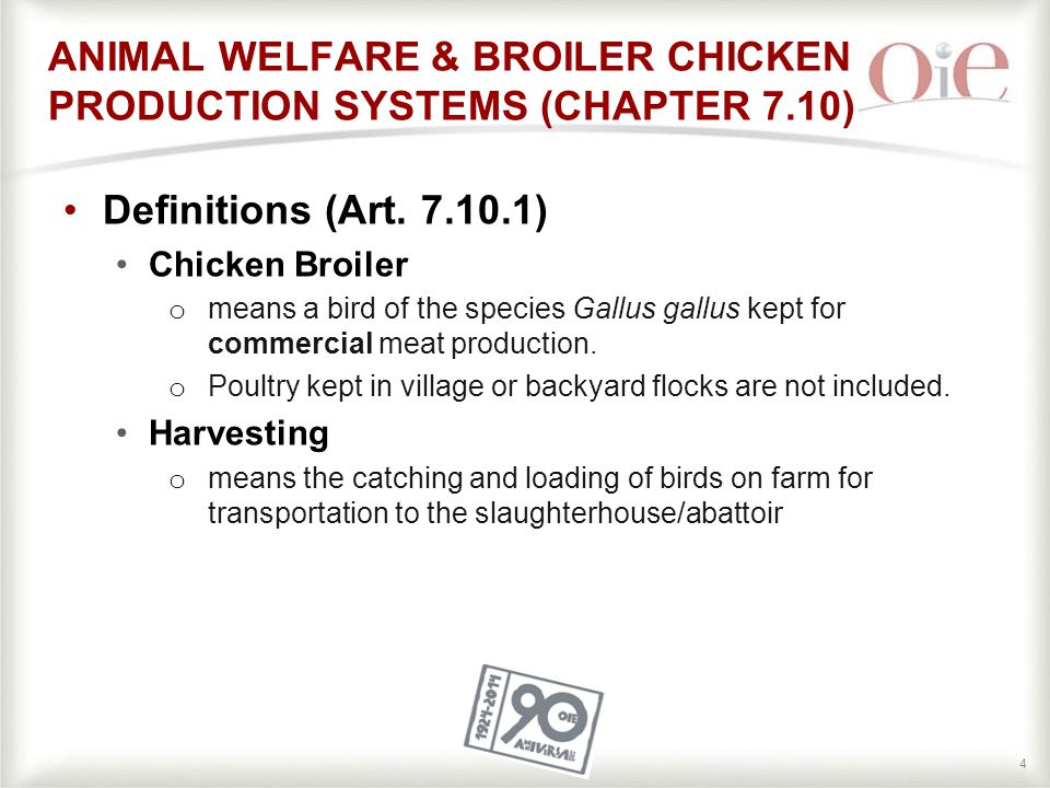 44 ANIMAL WELFARE & BROILER CHICKEN PRODUCTION SYSTEMS (CHAPTER 7.10) Definitions (Art.